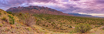 School Tote Bags Royalty Free Images - Early Morning Panorama of Sandia Mountains and Foothills - New Mexico Land of Enchantment Royalty-Free Image by Silvio Ligutti
