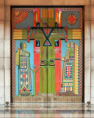 Photograph - East Chamber Doors at the Nebraska State Capitol Building in Lincoln by Art Whitton
