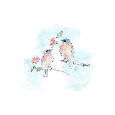 Animal Portraits - Eastern Bluebird BD134 Watercolor Painting by Kathleen McElwaine by Kathleen McElwaine