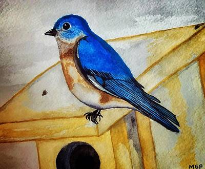 Animals Paintings - Eastern Bluebird by Michael Panno