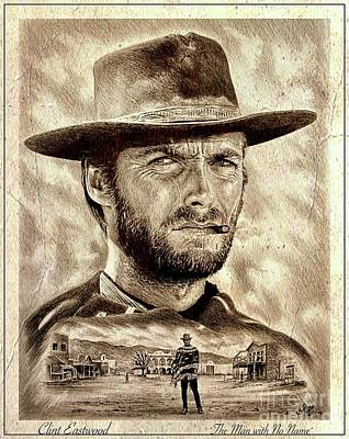 Drawings Royalty Free Images - Eastwood No Name poster Royalty-Free Image by Andrew Read