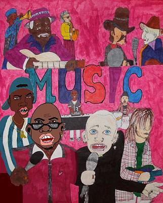 Musicians Drawings - Eclectic Music by Pharris Art
