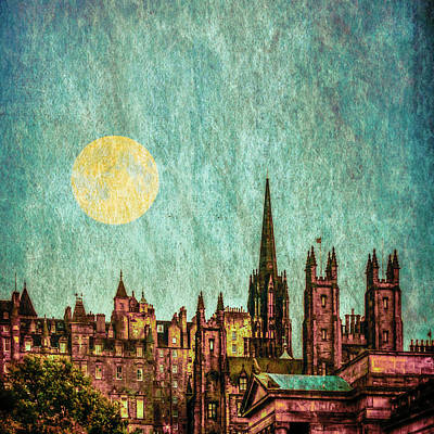 Christmas Christopher And Amanda Elwell Rights Managed Images - Edinburgh Old Town Skyline Royalty-Free Image by Tylie Duff