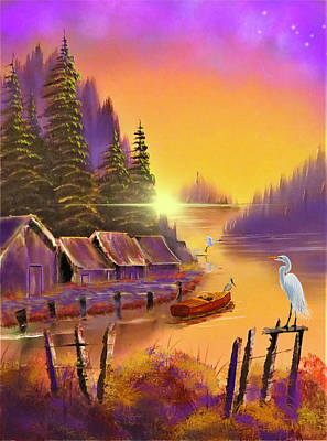 Popstar And Musician Paintings Royalty Free Images - Edit of Cabins On Sunset Lake Royalty-Free Image by Gary F Richards