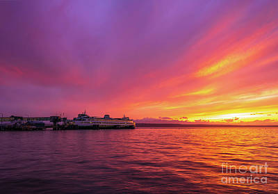 Royalty-Free and Rights-Managed Images - Edmonds Ferry Docked Fiery Sunset by Mike Reid