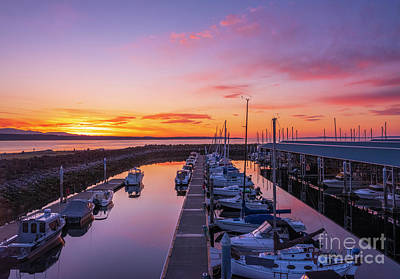 Personalized Name License Plates - Edmonds Marina Sunset Skies by Mike Reid