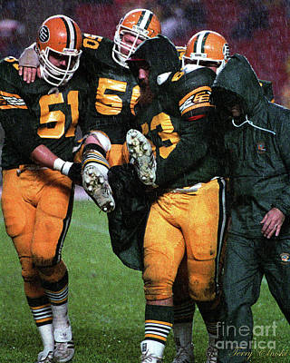 Sports Royalty-Free and Rights-Managed Images - Edmonton Eskimos Football - Blake Dermott Injury - 1984 by Terry Elniski