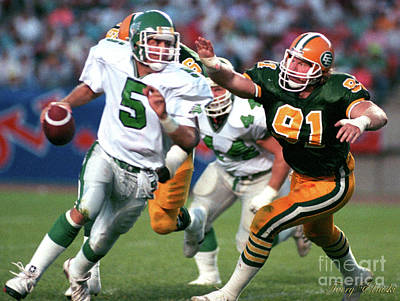 Christmas Cards - Edmonton Eskimos Football - Brett Williams - 1990 by Terry Elniski