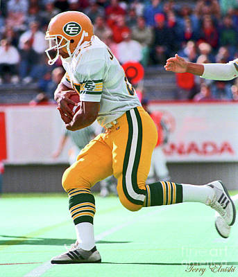 Studio Grafika Typography - Edmonton Eskimos Football - Chris Johnstone Handoff - 1988 by Terry Elniski