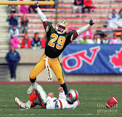 Christmas Cards - Edmonton Eskimos Football - Enis Jackson 1990 by Terry Elniski