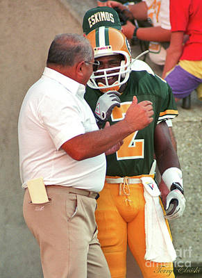 Sports Royalty-Free and Rights-Managed Images - Edmonton Eskimos Football - Head Coach Faragalli And Gizmo Williams by Terry Elniski