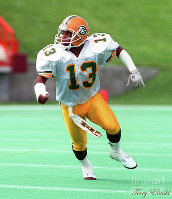 Sports Royalty-Free and Rights-Managed Images - Edmonton Eskimos Football - Mark Mathis -1990 by Terry Elniski