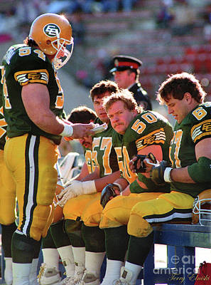 Sports Royalty-Free and Rights-Managed Images - Edmonton Eskimos Football - O-line On The Sideline - 1990 by Terry Elniski