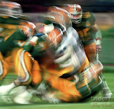 Abstract Male Faces - Edmonton Eskimos Football - Slo Mo Big Tackle - 1986 by Terry Elniski