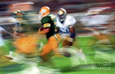 Abstract Male Faces - Edmonton Eskimos Football - Slo Mo Blake Marhsall - 1988 by Terry Elniski