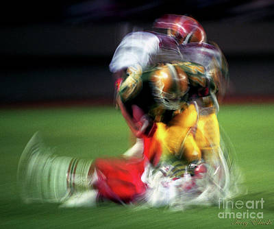Abstract Male Faces - Edmonton Eskimos Football - Slo Mo Blake Marshall - 1989 by Terry Elniski