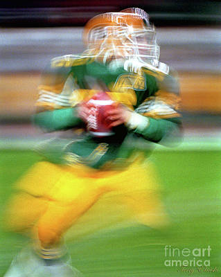 Abstract Male Faces - Edmonton Eskimos Football - Slo Mo Matt Dunigan - 1986 by Terry Elniski