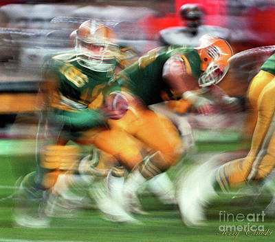 Abstract Male Faces - Edmonton Eskimos Football - Slo Mo Matt Dunigan 2 - 1986 by Terry Elniski