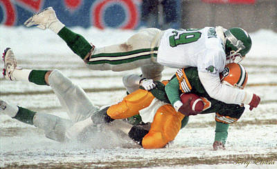 Christmas Cards - Edmonton Eskimos Football - Tracy Ham Snowed Under - 1990 by Terry Elniski