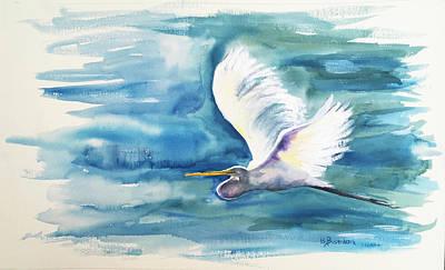 Painting - Egret in Flight by Barbara Busenbark