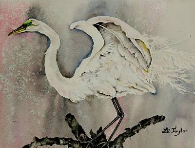Pasta Al Dente - Egret in Pink and Gray by Lil Taylor