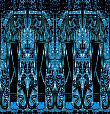Curated Beach Towels - Egyptian Priests and Cobras Blue 3 by Sherrie Larch