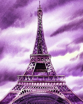 Royalty-Free and Rights-Managed Images - Eiffel Tower In Purple Watercolor French Chic Decor by Irina Sztukowski
