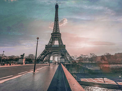 Surrealism Royalty-Free and Rights-Managed Images - Eiffel Tower near city road under sky at sunset - Surreal Art by Ahmet Asar by Celestial Images