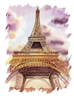 Curated Travel Chargers - Eiffel Tower Paris France With Free Impulsive Brush Movement by Irina Sztukowski
