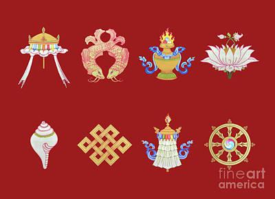 Painting - Eight Auspicious Symbols -landscape by Carmen Mensink