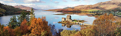 Fantasy Royalty-Free and Rights-Managed Images - Eilean Donan Castle Panorama in Autumn by Grant Glendinning