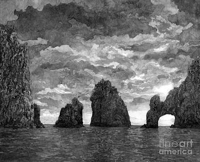 Thomas Kinkade - El Arco in Black and White by Hailey E Herrera