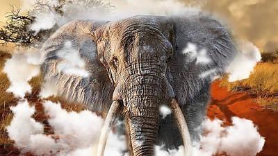 Mixed Media - Elephant Run by Marvin Blaine