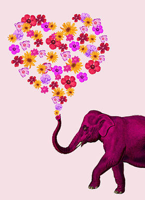 Clouds Rights Managed Images - Elephant with flowers Royalty-Free Image by Mihaela Pater