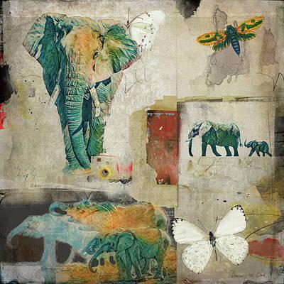 Digital Art - Elephants And Butterflies by Bellesouth Studio