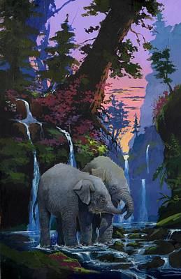 Painting - Elephants in Ganedon by Tony W Morgan