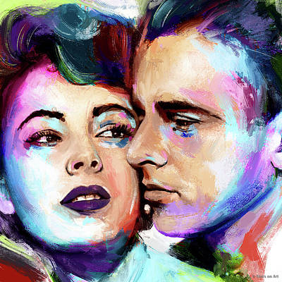Modern Sophistication Line Drawings Royalty Free Images - Elizabeth Taylor and Montgomery Clift painting Royalty-Free Image by Stars on Art
