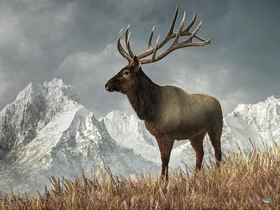 Animals Digital Art - Elk by Daniel Eskridge