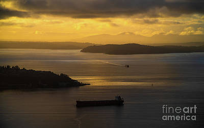 Water Droplets Sharon Johnstone - Elliott Bay Evening Mood by Mike Reid