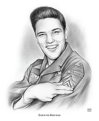 Drawings Rights Managed Images - Elvis In the Army Royalty-Free Image by Greg Joens
