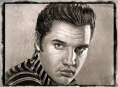 Musicians Drawings Rights Managed Images - Elvis Presley sepia Royalty-Free Image by Andrew Read