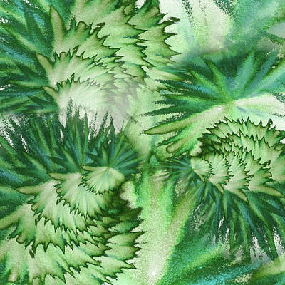 Royalty-Free and Rights-Managed Images - Emerald Green Organic Vortex Abstract Art by Irina Sztukowski