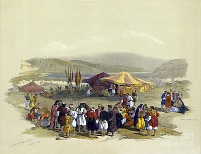 Drawings Royalty Free Images - Encampment of Pilgrims, Jericho 1839 i1 Royalty-Free Image by Historic illustrations
