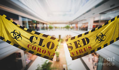 Modern Sophistication Beaches And Waves Royalty Free Images - End of coronavirus COVID-19 economic lockdown. Tearing caution tape at shopping mall. Royalty-Free Image by Michal Bednarek