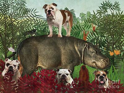 Bicycle Patents - English Bulldog Henri Rousseau Hippopotamus by Sandra Sij
