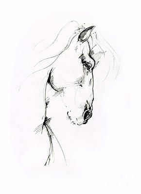 Animals Drawings - Equine sketch 2019 04 28 by Angel Ciesniarska