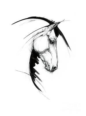 Animals Drawings - Equine sketch 2019 04 28a by Angel Ciesniarska