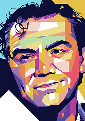 Vesna Antic Abstract Paintings - Ernest Borgnine by Stars on Art