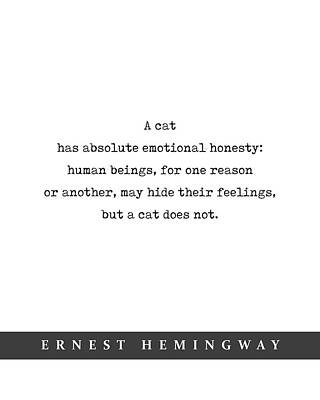 Mixed Media Royalty Free Images - Ernest Hemingway Cat Quote 03 - Minimal Literary Poster - Book Lover Gifts Royalty-Free Image by Studio Grafiikka