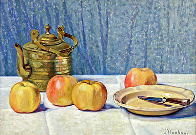 Personalized Name License Plates - Ernest Moulines 1870 1942   Still Life with Apples and Teapot by Artistic Rifki